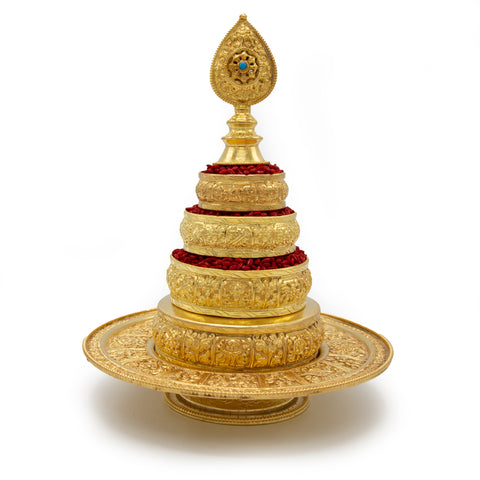 Gold Mandala Set with Stand