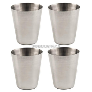 4 Pieces Stainless Steel Portable Camping Fishing Cups with Case 30ML 70ML 180ML-Outdoor Tools-Outdoor Good Store