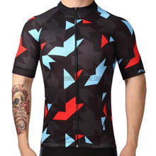 Abstract Geometric Black Blue Mosaic Pattern Retro Cycling Jersey-cycling jersey-Outdoor Good Store