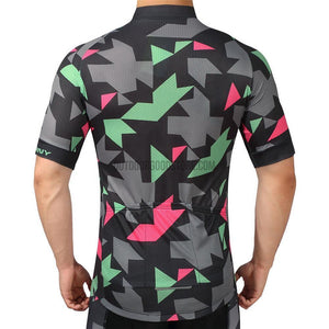 Black Geometric Shapes Mosaic Pattern Retro Cycling Jersey-cycling jersey-Outdoor Good Store