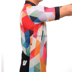 Colorful Orange Red Blue Triangle Mosaic Pattern Retro Cycling Jersey-cycling jersey-Outdoor Good Store