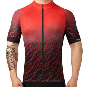 Gradient Red Black Mosaic Pattern Retro Cycling Jersey-cycling jersey-Outdoor Good Store