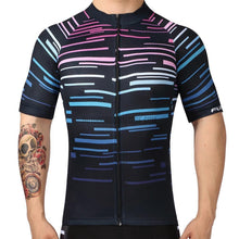 Nacy Blue Pink Striped Mosaic Pattern Retro Cycling Jersey-cycling jersey-Outdoor Good Store
