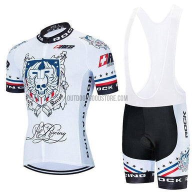 Rock Racing White Retro Cycling Jersey Kit-cycling jersey-Outdoor Good Store