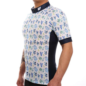 White Flower Plants Mosaic Pattern Retro Cycling Jersey-cycling jersey-Outdoor Good Store
