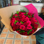 A Wrapped Bouquet of Red Roses - Mariams Flowers