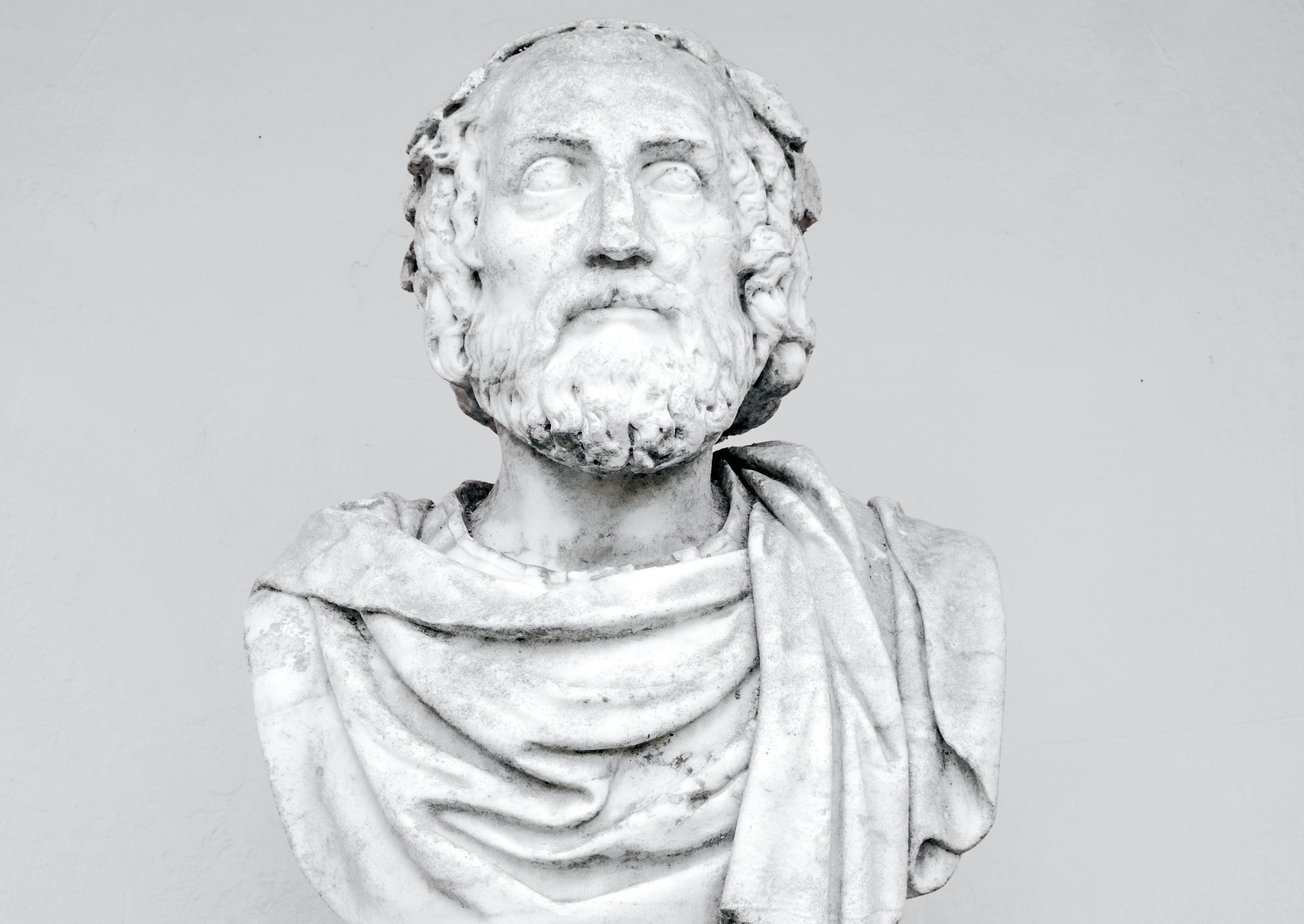 The bust of an ancient Greek philosopher.