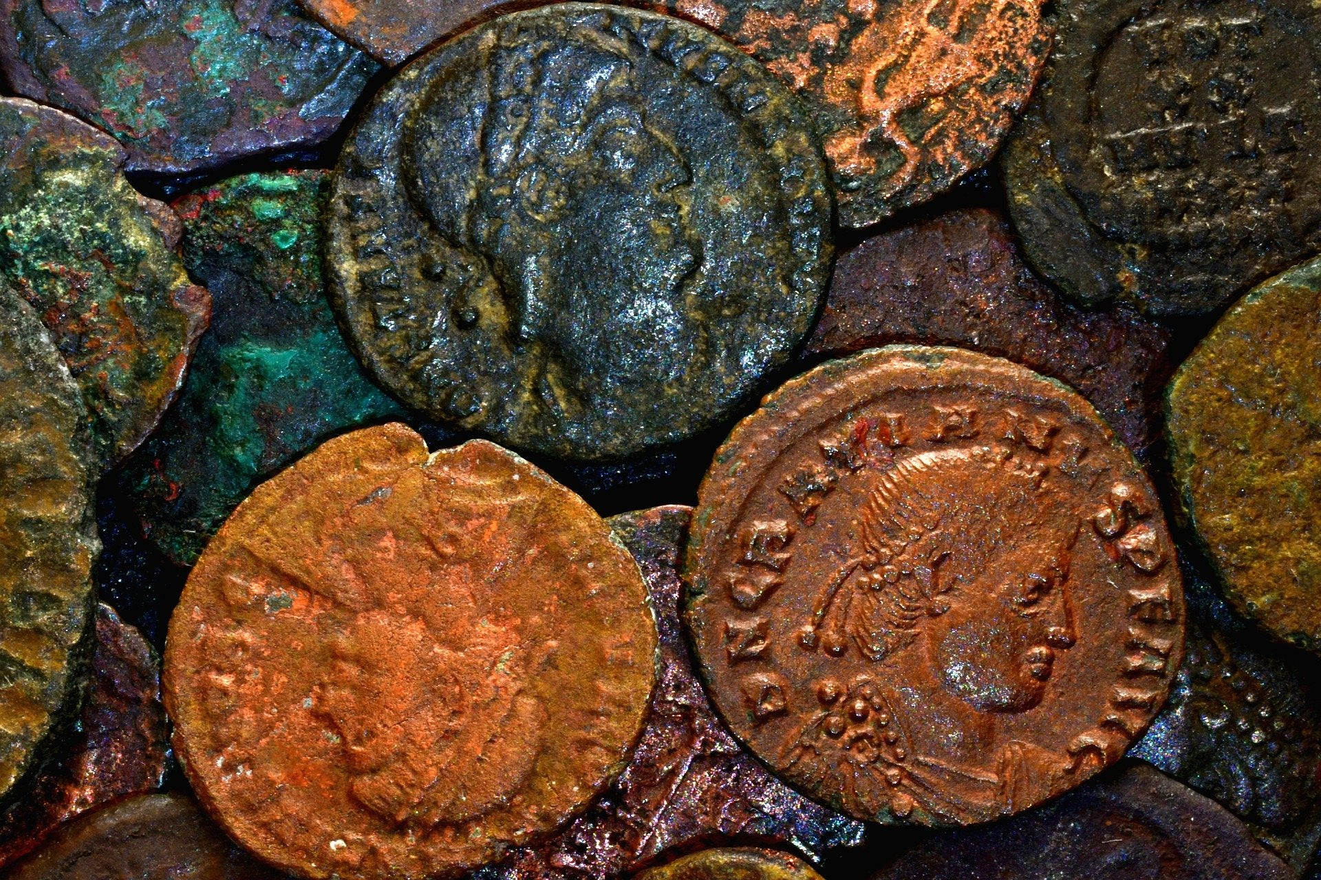 A collection of Roman coins.