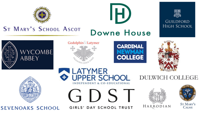 Collage of school logos, we work with all of these schools to help get students into Oxford and Cambridge