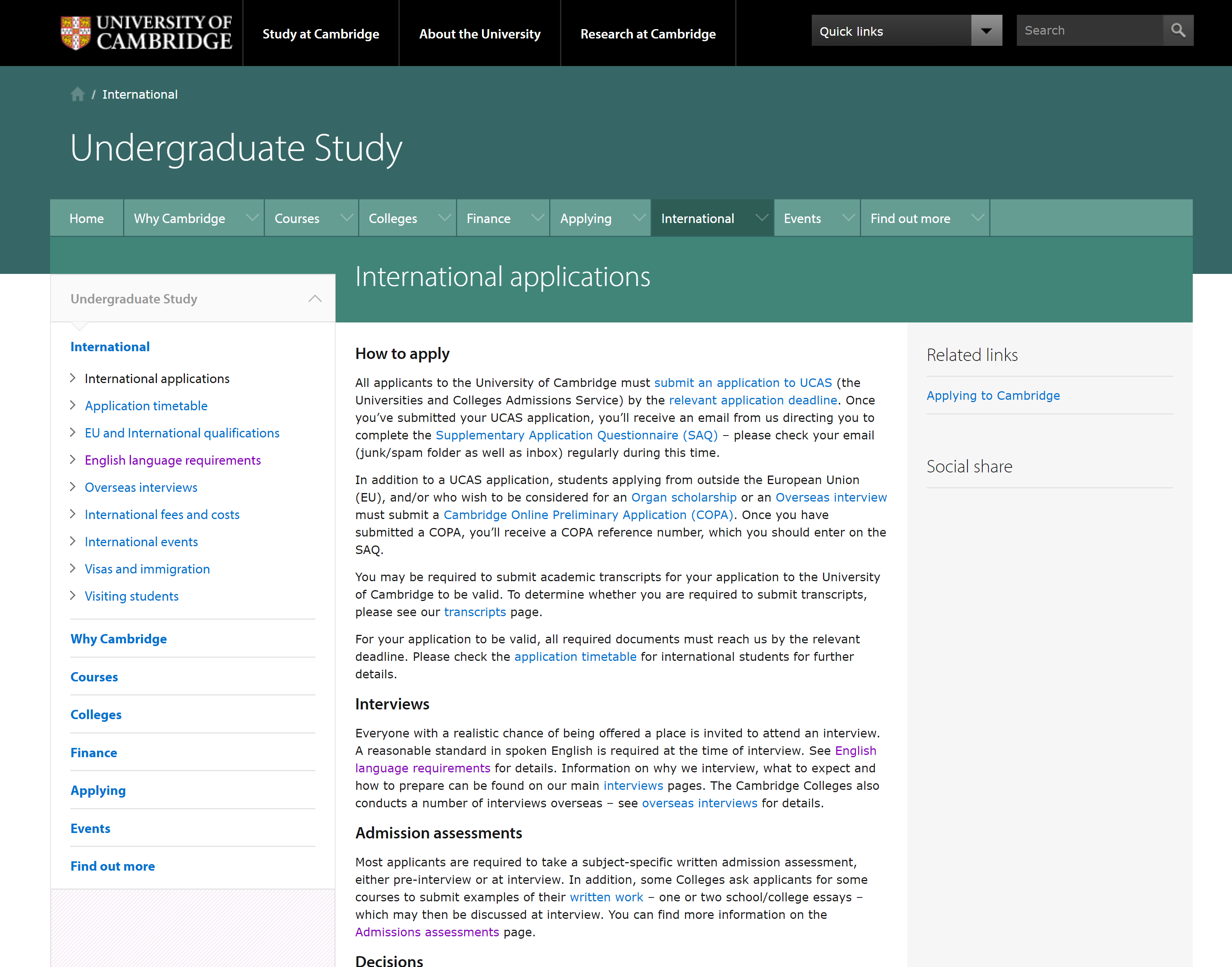 Cambridge website