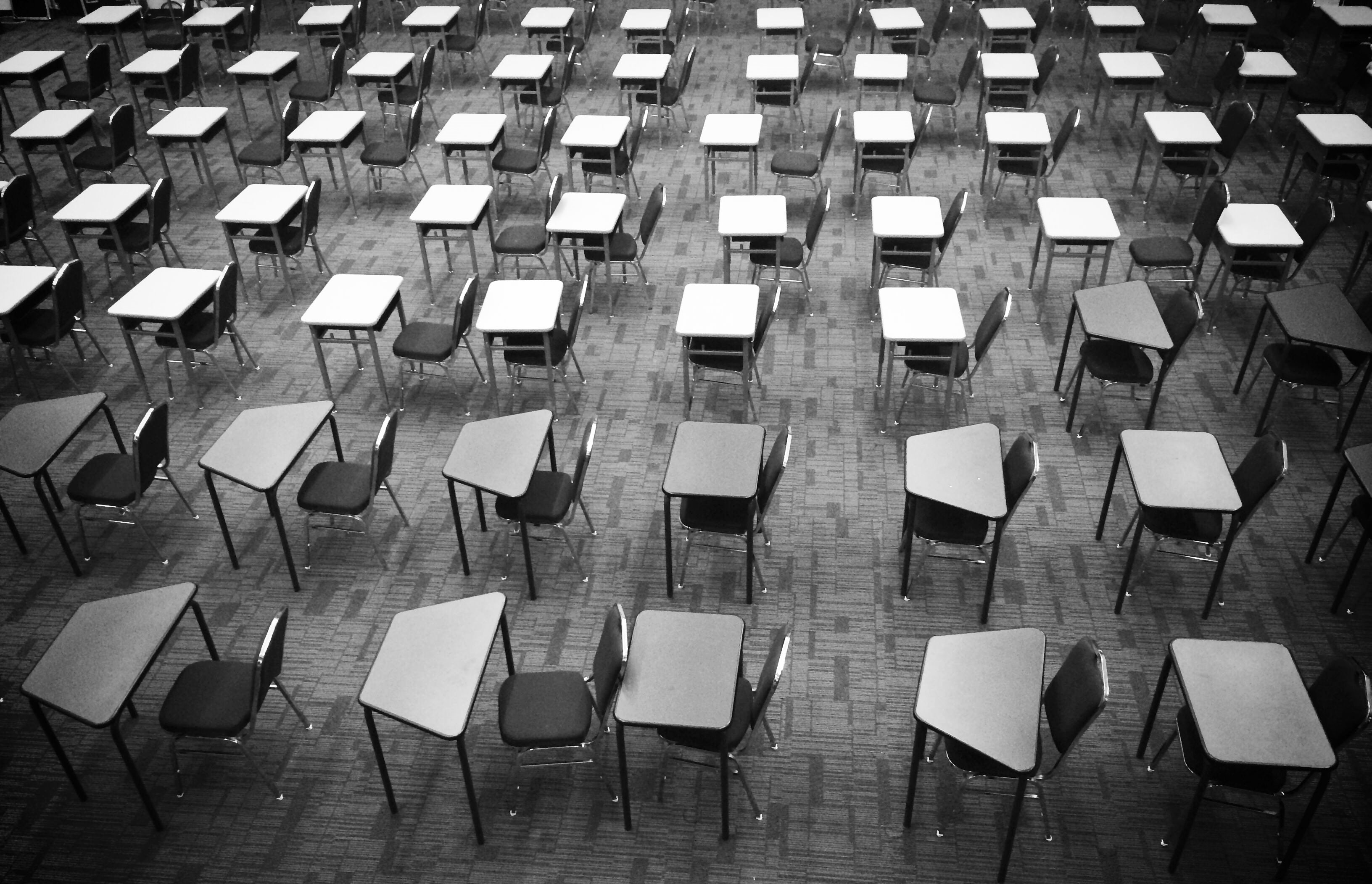 Exam room ready for an Oxford or Cambridge Admissions test, black and White