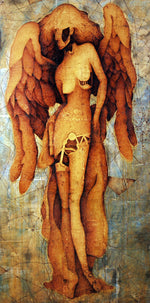 Angel, mixed media on panel, by Larry Ray Brannock
