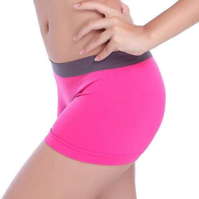Fashion New Women Exercise Workout Waistband Skinny Shorts 3 Colors Casual Solid White Hot Pink Black