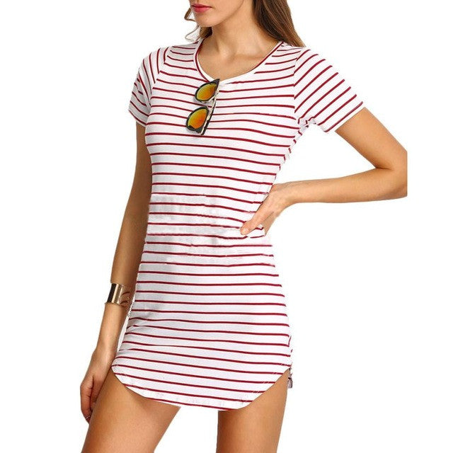 New Fashion Summer Sexy Vestidos Striped Women Dress Black and White Short Sleeve Striped Loose Cotton A-Line Mini Dress