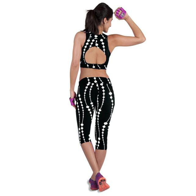 High Waist Fitness Yoga Sport Pants Printed Stretch Cropped Leggings