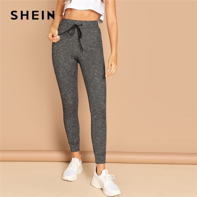 SHEIN Grey Casual Solid Drawstring Waist Pocket Striped Long Leggings Autumn Leisure Modern Lady Women Leggings