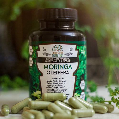 Organic Moringa Oleifera Leaf Capsule: 800 mg Natural Drumstick Leaves Veggie Capsules - Superfood to Support Focus, Weight Loss, Memory, Metabolism & Anti Aging - Vegan Friendly & Non GMO - 60 Pills