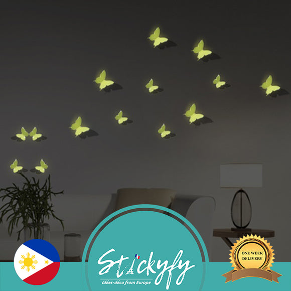 Pack of 12 x 3D Butterfly Wall Stickers, Glow in the Dark