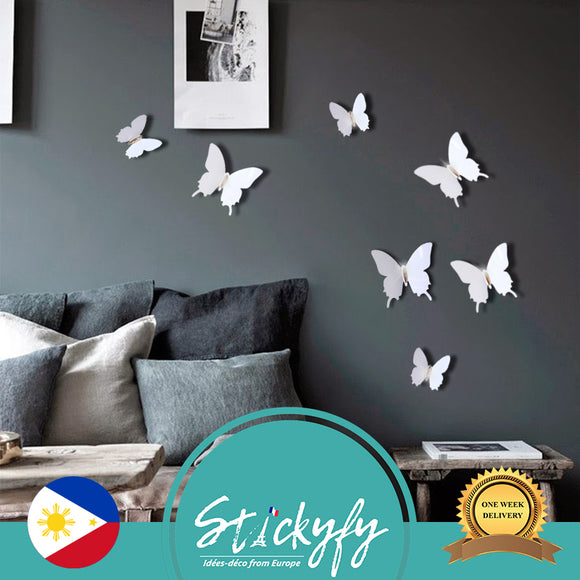 Pack of 12 x 3D Butterfly Wall Stickers with Gem