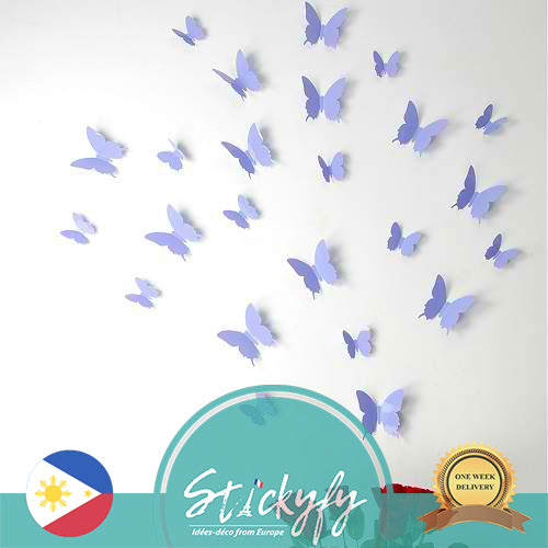 Pack of 12 x 3D Butterfly Wall Stickers