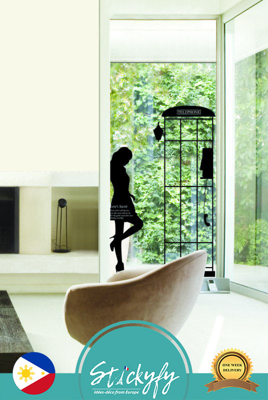 Woman at phonebooth wall sticker decal