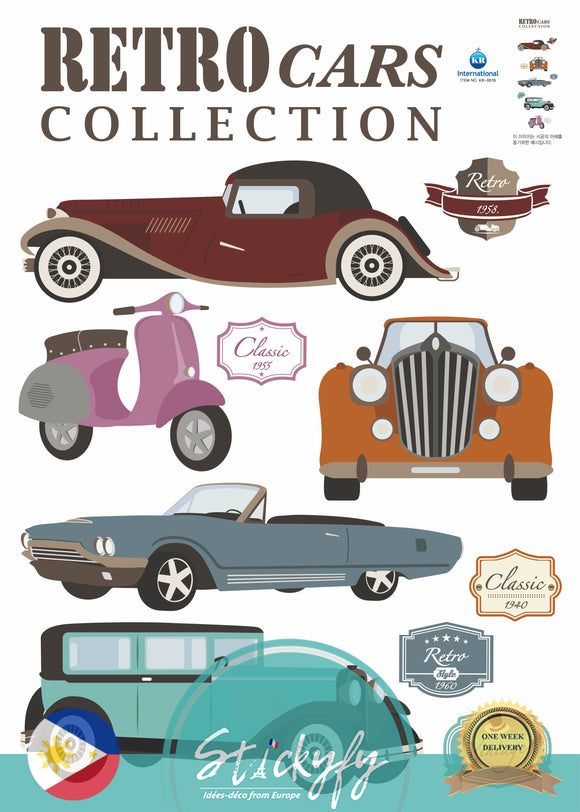 Retro cars collection wall sticker decal