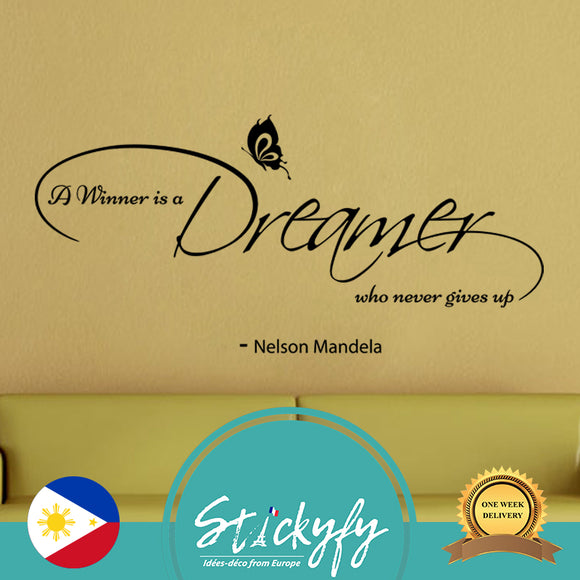 Wall decal Nelson Mandela - A winner is a dreamer