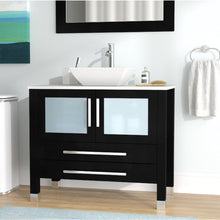 "Load image into Gallery viewer, Cambridge 36"" Wood & Porcelain Single Vessel Sink Vanity Set 8111 - Vanity Connection"