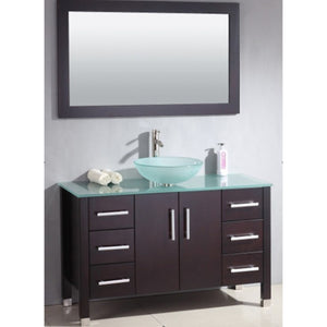 "Cambridge 48"" Wood Glass Vessel Sink Set with a Brushed Nickel Faucet 8116B-BN - Vanity Connection"