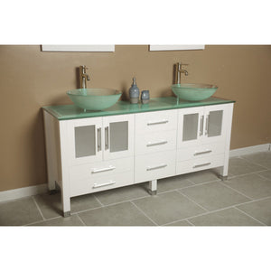 "Cambridge 63"" Wood Vanity with Frosted Glass Countertop with Vessel Sinks 8119BW-BN - Vanity Connection"