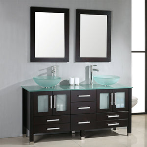 "Cambridge 63"" Solid Wood & Glass Double Vessel Sink Vanity Set 8119-B - Vanity Connection"