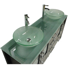 "Load image into Gallery viewer, Cambridge 63"" Solid Wood & Glass Double Vessel Sink Vanity Set 8119-B - Vanity Connection"