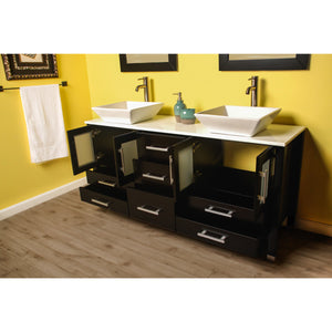 "Cambridge 63"" Wood Vanity Set with Porcelain Countertop and Vessel Sinks 8119F-BN - Vanity Connection"