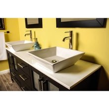 "Load image into Gallery viewer, Cambridge 63"" Wood Vanity Set with Porcelain Countertop and Vessel Sinks 8119F-BN - Vanity Connection"
