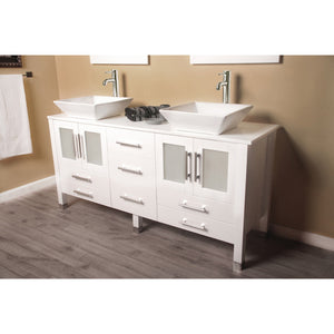 "Cambridge 63"" Wood Vanity with Frosted Glass Countertop with Vessel Sinks 8119W-BN - Vanity Connection"