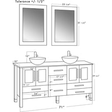 "Load image into Gallery viewer, Cambridge 71"" Wood & Frosted Glass Double Vessel Sink Vanity Set 8119BXLW - Vanity Connection"