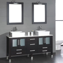 "Load image into Gallery viewer, Cambridge 71"" Solid Wood Vanity Set with Porcelain Countertop and Vessel Sinks 8119XL - Vanity Connection"