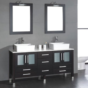 "Cambridge 71"" Solid Wood Vanity Set with Porcelain Countertop and Vessel Sinks 8119XL - Vanity Connection"