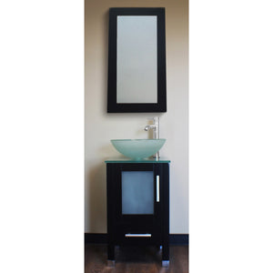 "Cambridge 18"" Wood Cabinet & Tempered Glass Top & Vessel Sink w/ Faucet 8137B-BN - Vanity Connection"