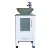 "Cambridge 18"" White Wood Cabinet & Glass Counter Top with Vessel Sink 8137BW-BN - Vanity Connection"