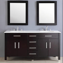 "Load image into Gallery viewer, Cambridge 72"" Espresso Solid Wood and Porcelain Double Vanity Set 8162 - Vanity Connection"