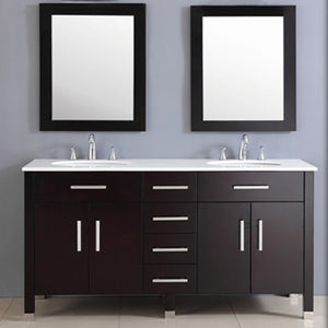 "Cambridge 72"" Espresso Solid Wood and Porcelain Double Vanity Set 8162 - Vanity Connection"