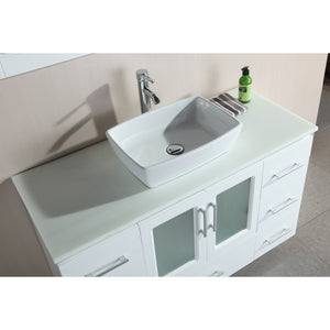 Design Element Stanton 48″ Single Sink Vanity Set with Vessel Sink in White B48-VS-W - Vanity Connection