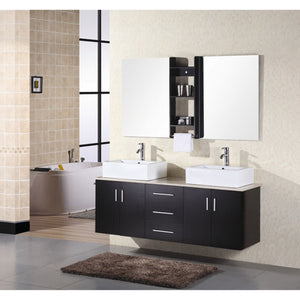 Design Element Portland 61″ Double Sink – Wall Mount Vanity Set in Espresso | White Quartz DEC004 - Vanity Connection