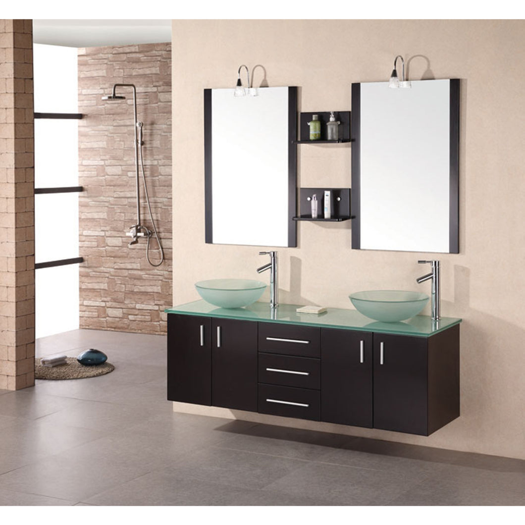 Design Element Portland 60″ Double Sink – Wall Mount Vanity Set in Espresso | Tempered Glass DEC005 - Vanity Connection