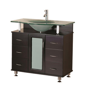 "Design Element Huntington 36"" Single Sink Vanity Set in Espresso DEC015B - Vanity Connection"