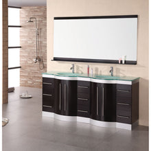"Load image into Gallery viewer, Design Element Jade 72"" Double Sink Vanity Set in Espresso w/ Glass Top DEC023-GTP - Vanity Connection"