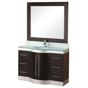 "Design Element Jade 48"" Single Sink Vanity Set w/ Glass Top DEC024-GTP - Vanity Connection"