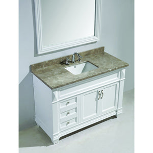 Design Element Hudson 48″ Vanity Set in White w/ Badal Gray Marble Top DEC059B-W-G - Vanity Connection