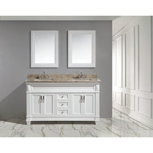 "Load image into Gallery viewer, Design Element Hudson 60"" Vanity Set in White w/ Marble Top DEC059C-W-G - Vanity Connection"
